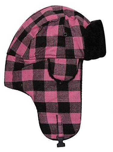 Checker Pattern Trooper Hat - Pink/Black