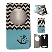 "Zenfone 2 Laser (ZE500KL) Case, Asus Zenfone 2 Laser (ZE500KL) Case, SATURCASE PU Leather Flip View Window Stand PC Case Cover for Asus Zenfone 2 Laser ZE500KL 5.0"" Wave and Anchor"