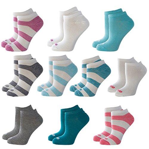 (Kensie (10 Pairs) No Show Socks Women Lightweight Cute Ladies Ankle Socks Assorted Colors 9-11 Shoe 4-10)