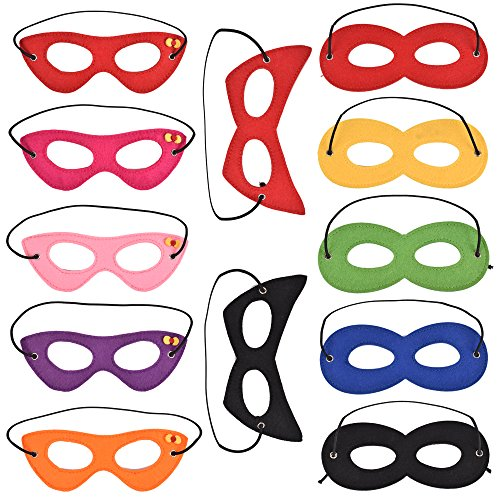 Oxfox Felt Superhero Masks Party Masks with Elastics for Dress-up Party Halloween Party for Kids and Adults 12 (Superhero Eye Mask)