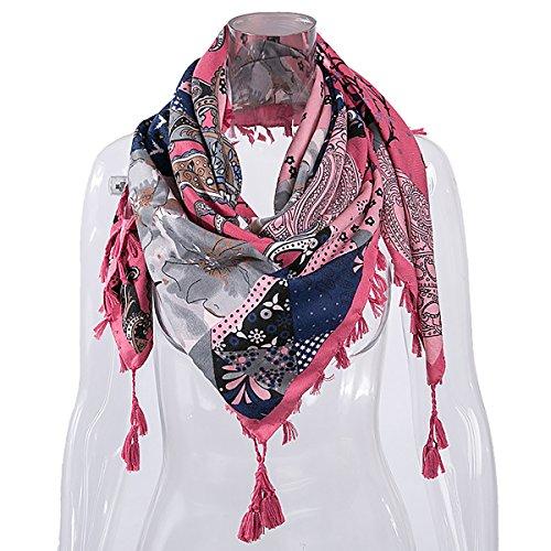 CZ Women Flower Print Ramie Cotton Fabric Square Scarf Wrap Shawl