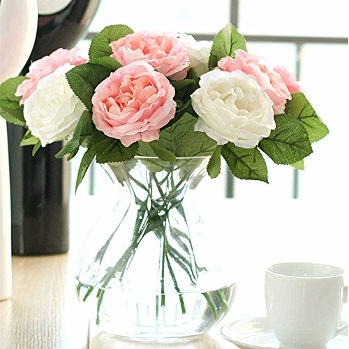 Decor Flowers Silk (Artificial Flowers,Fake Flowers Silk 6 Heads Plastic Roses Wedding Bouquet Flower Arrangement for Home Decor Party Centerpieces Decoration (pink white))