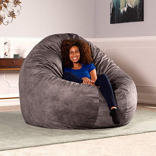 (Jaxx 6 Foot Cocoon - Premium Giant Bean Bag for Adults - Padded Microvelvet, Pewter )