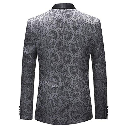 Giacca Grigio Uomo Business Smoking Pezzi Fit Gilet Wedding Button Da Pantaloni 3 Slim One Abiti 7qfWp