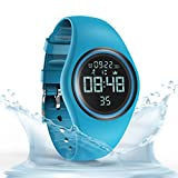 Synwoo Pedometer Smart Watch IP68 Waterproof Sport Wristwatch Fitness Tracker with Step Distance Calorie Alarm Clock and Timer Function for Kid Teenager and Adult (Blue)
