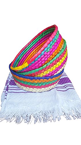 3Pack Handwoven Mexican baskets ideal for tortillas, snacks, pancakes, nachos & more. Great for a theme party, gift, home & kitchen - Tortillero para fiesta - Unique pieces of Art.