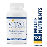Vital Nutrients – Multi-Nutrients (No Iron or Iodine) – Comprehensive Multi-Vitamin/Mineral Formula With Potent Antioxidants – 180 Vegetarian Capsules