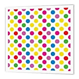 3dRose HT_78223_1 Super Bright Pink, Yellow, Green, and Red Large Polka Dots-Iron on Heat Transfer for Material, 8 by 8-Inch, White