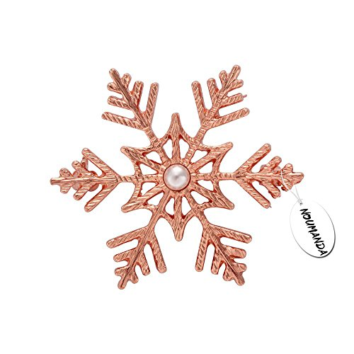 Gold Rose Brooch (NOUMANDA Winter Wedding Brooch Pin Snowflake Broach Jewelry (Rose Gold))