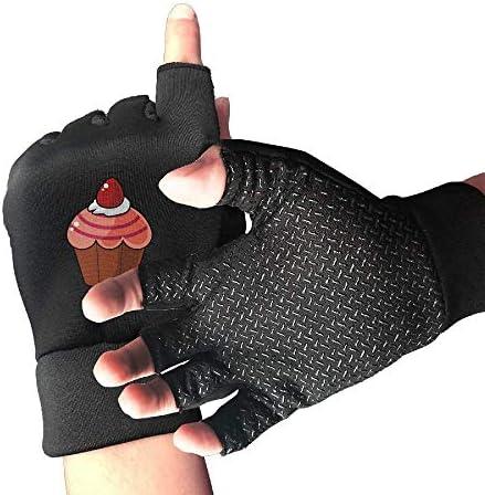 URMOER Nonslip halve vinger fietshandschoenen Cartoon rode Cupcake oefenhandschoenen voor GYM gewichtheffen training