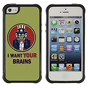 Hybrid Anti-Shock Defend Case for Apple iPhone 5 5S / I Want Your Brains