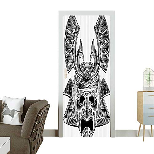 Homesonne Door Sticker WallpapermVintage Ancient Experienced Japanese Soldier Mask with Royal Lines and Shapes Fashion and Various patternW35.4 x H78.7 INCH -
