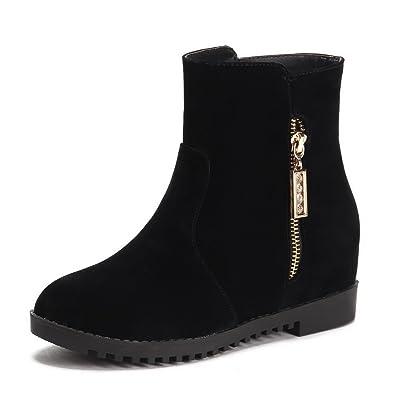 Women's Zipper Kitten-Heels Flock Solid Low-Top Boots