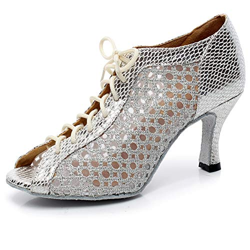 9 Mujer Cordones Encaje Silver8 Alto De Boca Latino 5cm Xiaoy Size Zapatos Baile Pescado Tacón Interior wpOXxfqPnT