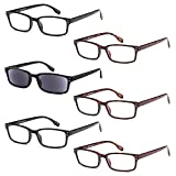 GAMMA RAY READERS 6 Pairs Men's Readers Quality Spring Hinge Reading Glasses for Men +2.00
