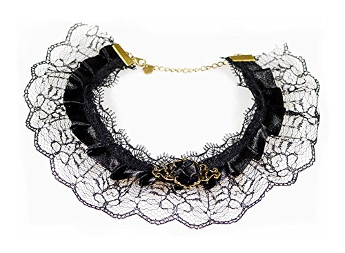 [Women's Victorian Gothic Style Lace Choker (Black)] (Cinderella Stepmother Costumes)