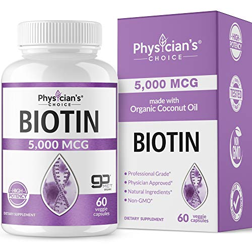 (Biotin 5000 MCG; with 100% Organic Coconut Oil from (Patented) goMCT® | Biotin Supplement for Hair Growth, Nail & Skin Health | Non-GMO & Vegan Hair, Skin, and Nail Vitamins | 60 Capsules)