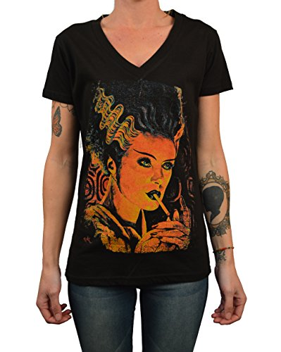 Women's Monster Love by Mike Bell Frankenstein Bride Monster Halloween T-Shirt
