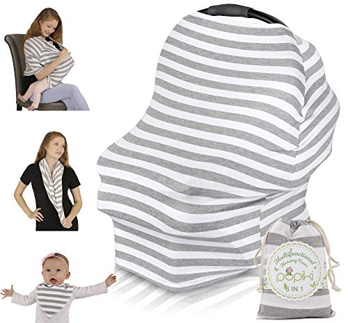 Striped Car Seat Cover - Multipurpose Nursing Cover - Soft, Stretchy, Secure Breastfeeding Cover, Car Seat Cover & Stroller Canopy - Grey & White Weatherproof Nursing Scarf + Matching Breastfeeding Bag & Bandana Bib by Pupiki