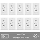 [10 Pack] BESTTEN Self Test GFCI Receptacle Outlet with LED Power Indicator, 15Amp 125Volt, Wall Plate Included, UL Certified