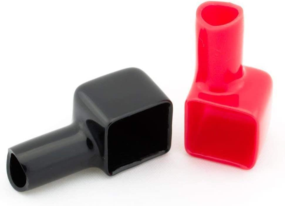 VIGE 2pcs Red and Black Square Motorcycle Battery Terminals Rubber Covers Universal fit for Bike Scooter for Kart ATV