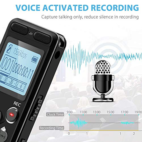 EVISTR 16gb Digital Voice Reorder Line in - Portable Recorders for Lectures Voice Activated Recording Device with Playback, Password, USB Rechargeable by EVISTR (Image #4)