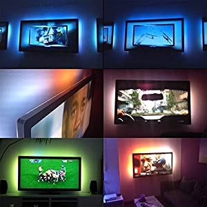 Bias Lighting for HDTV USB LED Strip Multi Color RGB Neon Backlight Kit for Flat Screen TV LCD, Desktop PC (Reduce eye fatigue and increase image clarity)