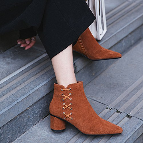 Solid Color Zipper Stivaletti Side Cross Black Boots Short Heels e a 6wqwx14It0