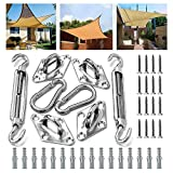 Bigear Shade Sail Hardware Kit for Rectangle and Square Sun Shade Sail Installation Stainless Steel 316 Marine Grade Shade Sail Hardware Kit for Patio Lawn Garden, 24 Pcs Silver (Silver-001)