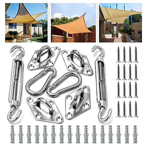 Bigear Shade Sail Hardware Kit for Rectangle and Square Sun Shade Sail Installation Stainless Steel 316 Marine Grade Shade Sail Hardware Kit for Patio Lawn Garden, 24 Pcs Silver (Silver-001) by Bigear