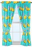 Disney/Pixar Cars 3 Movie Cruz Teal/Yellow Drapery/Curtain 4pc Set (Two panels, two tie backs) with Cruz Ramirez (Official Disney/Pixar Product)