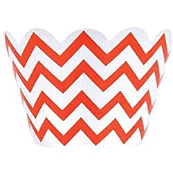 Just Artifacts Decorative Cupcake Paper Wrapper Muffin Holder - (40pc) Color: Chevron Orange - Decorations for Birthday Parties, Baby Showers, Weddings and Life Celebrations!