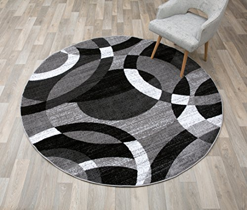 Rugshop Contemporary Modern Circles Abstract Round Area Rug, 6' 6