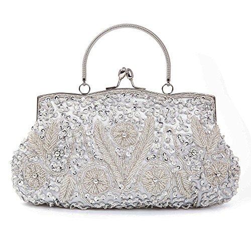 Glamorous Clutch Purse (Women Beaded Sequined Clutch Purse Metal Frame Kissing Lock Evening Bag Party Bridal Wedding Handbag(Silver))