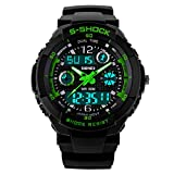 Men's Military S Shock Dual Dial Analog Quartz LED Electronic Digital Sport Watch Waterproof Green