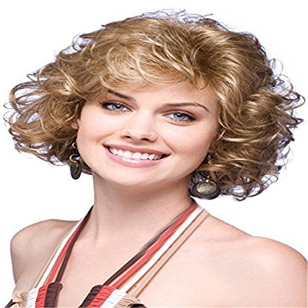 Women's Wig Fashionable Women Wigs Short Curly Wavy Full Hair Wigs Brown For Costume Party Halloween]()