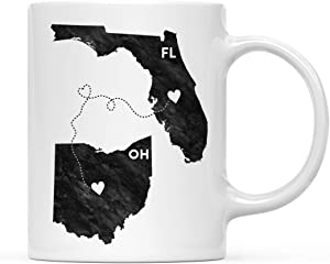 Andaz Press 11oz. Coffee Mug Long Distance Gift, Florida and Ohio, Black and White Modern, 1-Pack, Moving Away Graduation University College Gifts for Him Her Relationships