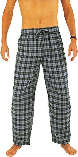 NORTY Mens Cotton Tartan Plaid Flannel Sleep Pajama Pant, Blue 39977-Large