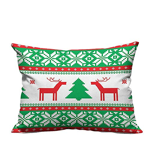 alsohome Super Soft Pillowcase Knit Style Graphic Reindeer Star Snowflake Holiday Season Family Red Green Whit Resists Stains13.5x19 inch(Double-Sided Printing)