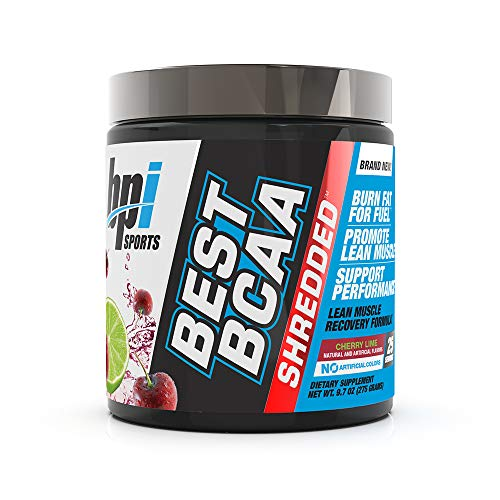 BPI Sports Best BCAA Shredded - Caffeine-Free Thermogenic Recovery Formula - BCAA Powder - Lean Muscle Building - Accelerated Recovery - Weight Loss - Hydration - Cherry Lime - 25 Servings - 9.7 oz. (Bpi Best Bcaa Shredded)