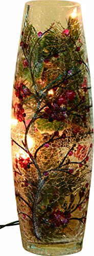 Transpac Small Crackle Glass Holiday Lighted Vase