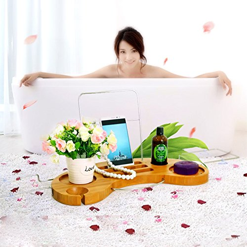 Honana BS-115 Bamboo Caddy Bathtub Arc-shaped Shelf Retractable Sanitary Shelf Bathroom Storage Holder