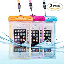 Universal Waterproof Phone Case of 3 Pack Set,Floating Pouch Night-Visible Smartphone Dry Bag for iPhone X/8/8 Plus/7/7 Plus/6S/6/6S Plus/SE/5S/5C,Galaxy S8/S8 Plus/Note 8 6 5, Pixel 2 up to 6.0""