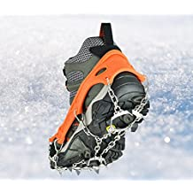 Crampons Universal Flexible Anti-Slip Ice Grips Snow Traction Cleats Ice Spikes Crampon with Stainless Steel Chain for Climbing Hiking