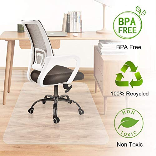 Office Desk Chair Mat Hardwood Floor Protector Heavy Duty Clear Recycled Polycarbonate BPA and Odor Free Non Slip Flat No Curling Home Office Computer Desk Floor Mats 35 x 47inches (Office Floor mat)