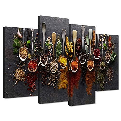 (iHAPPYWALL Kitchen Pictures Wall Decor 4 Pieces Couful Spice in Spoon Vintage Canvas Wall Art Food Photos Painting On Canvas Stretched Framed Home Decoration Gift Ready to Hang)