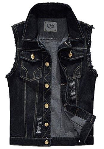 Sawadikaa Men's Vintage Denim Vest Jean Jacket Waistcoat Cowboy Jacket Outerwear Black X-Small
