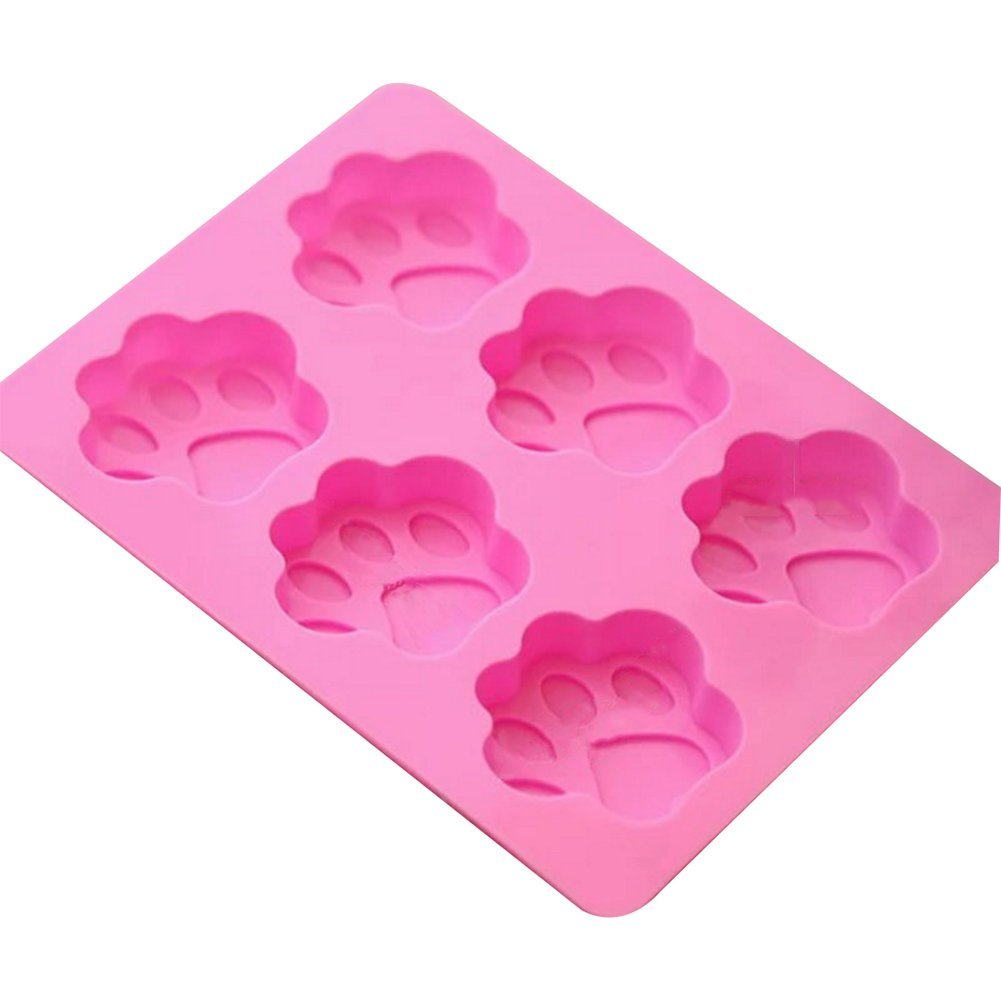 Nikgic 6 Cavity Silicone Pet Dog Cat Paw Print Cake Mould Non-Stick Fondant Chocolate Mold Cake Decor Icing Sugarcraft Mould DIY Baking Tools