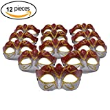 Yiseng Masquerade Mask Party Favors 12pcs Pack Mardi Gras Venetian Mask Halloween Novelty Gifts (red)