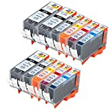 Ink & Toner Geek ® 11 Pack Compatible Replacement Inkjet Cartridges for Canon PGI-220 Black & CLI-221 Black Cyan Magenta Yellow For Use With Canon PIXMA IP3600 PIXMA IP4600 PIXMA IP4700 PIXMA MP540 PIXMA MP560 MP620 PIXMA MP620B PIXMA MP640